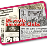 Newspaper reports of District Chairman Nancy Ho's visits to Sarawak Clubs.