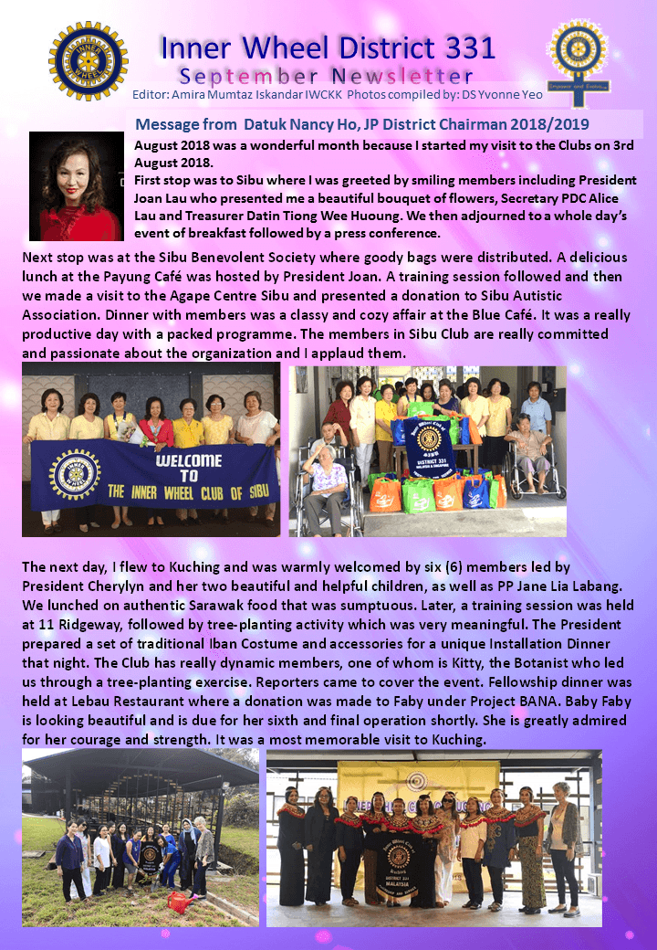 District Chairman Nancy Ho's September 2018 Message