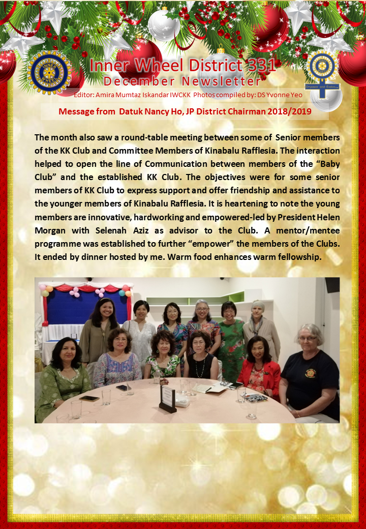 District Chairman Nancy Ho's December 2018 Message