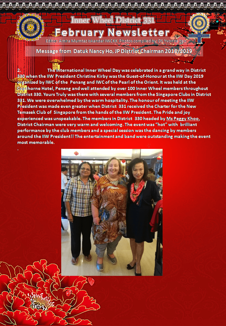District Chairman Nancy Ho's February 2019 Message