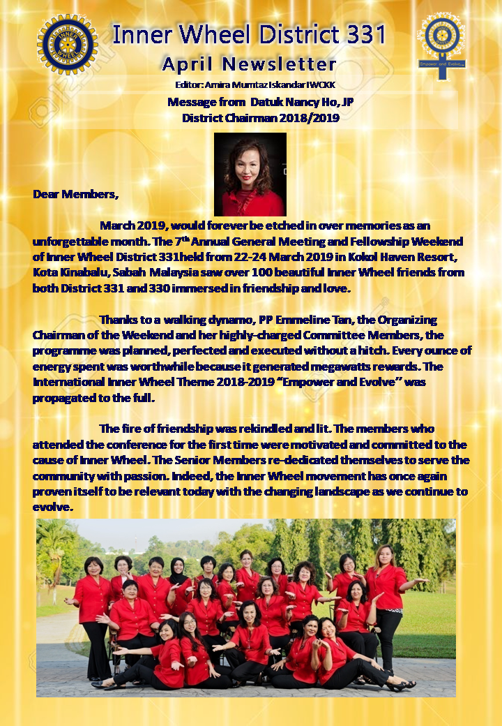 District Chairman Nancy Ho's April 2019 Message